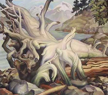 "Beached Oil on Canvas 50.75"" x 44.75"", 1935 Private Collection, Vancouver Island, Canada"